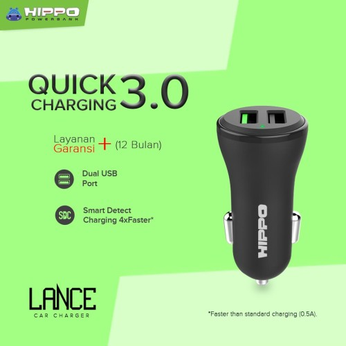 Foto Produk Hippo LANCE Car Charger Mobil Quick Fast Charging 3.0 SIMPLE PACK - Hitam dari Hippo Official Store