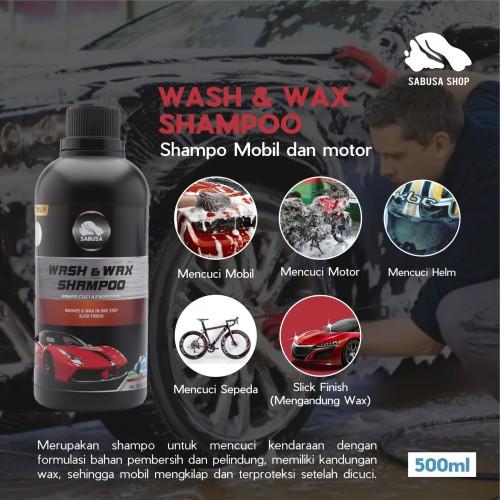 Foto Produk Wash & Wax Shampo Cuci Mobil Motor Helm Terbaik Premium SABUSA 500ml dari Sabusa shop