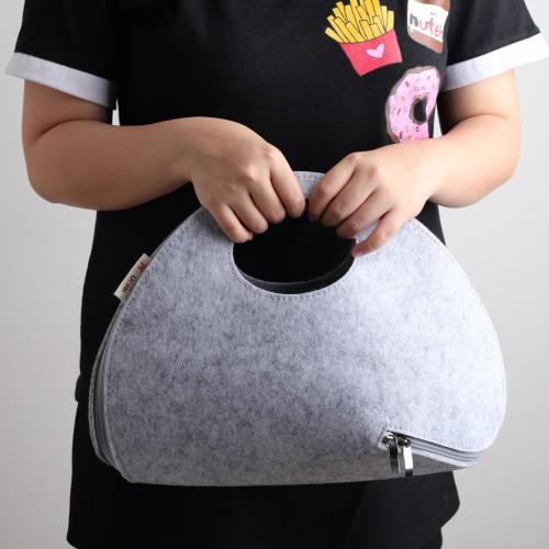 Foto Produk UCHII Felt Woman Hand Bag Girl / Tas Tangan Wanita Kain Zipper Clutch dari uchii store