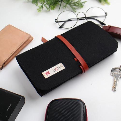 Foto Produk UCHII Travel Felt Pouch Case Leather String Dompet Kain Make Up Black dari uchii store
