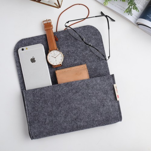 Foto Produk UCHII Travel Felt Pouch Case Rubber Bond Dompet Kain Serbaguna Make Up dari uchii store