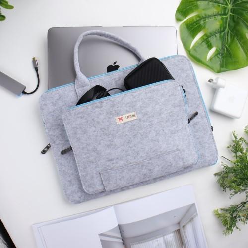 Foto Produk UCHII Portable Felt Laptop Bag w/ Pocket Handle Zipper | Tas Jinjing dari uchii store