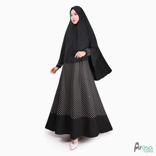 Foto Produk Setelan Gamis Original   Syari Polka Black   Set Wanita Syari - Black dari Tazkia Hijab Store