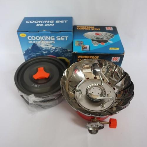 Foto Produk paket cooking set DS 200 plus kompor windproof merk kovar original dari dpeakoutdoor