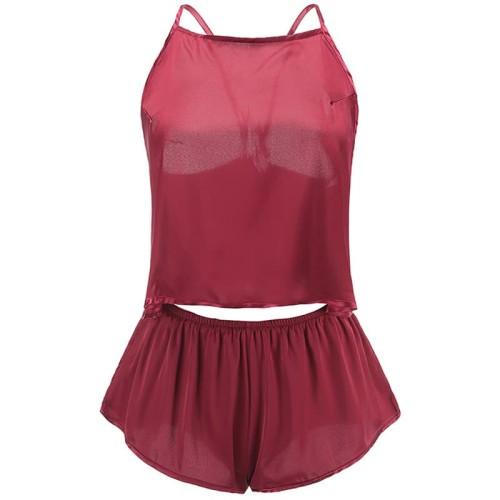 Foto Produk Sexy Lingerie set Baju Tidur Wanita Piyama Pajamas Satin Silky A131 - Maroon dari Online Fashion Style