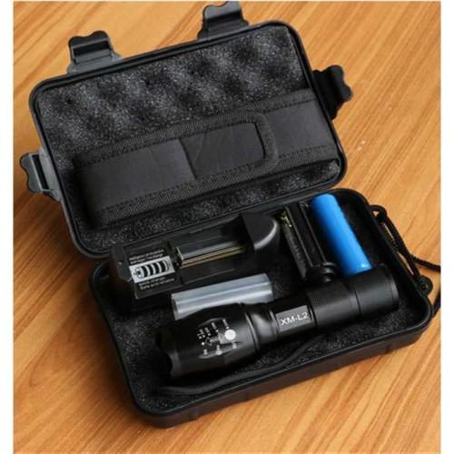 Foto Produk Paket Senter LED E17 CREE XM-L2 8000 Lumens Baterai Charger Pouch Box dari lbagstore