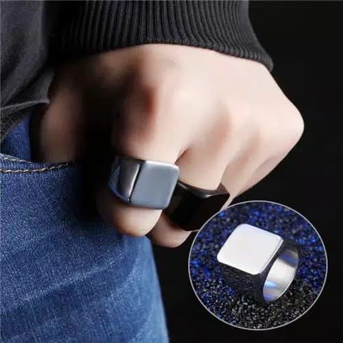 Foto Produk Cincin titanium square kotak hitam cincin pria keren elegant dari Satu Furniture Tangerang