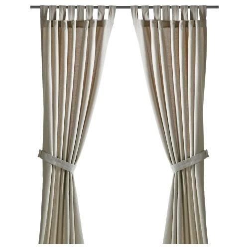 Foto Produk LENDA Curtain Gorden KATUN dengan pengikat, 1 psg 250x140cm KREM MUDA dari Distributor IKEA