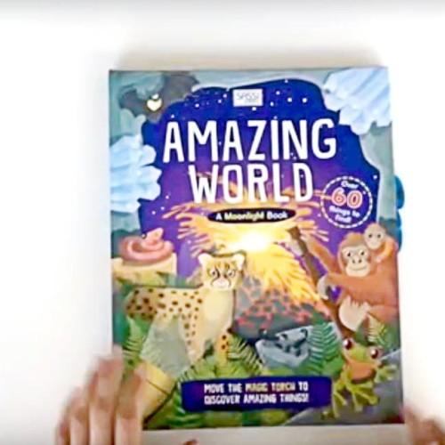 Foto Produk A Moonlight Book : Amazing World. Torch light book. Buku anak import dari Little Ivy