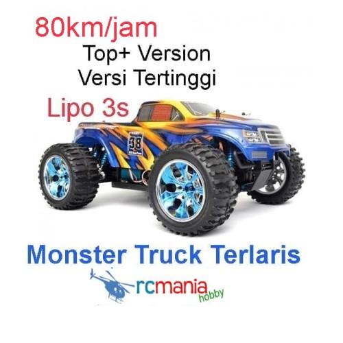 Foto Produk RC Car Remote Control Monster Truck HSP Brontosaurus TOP Plus 4WD - Biru dari RCmania Hobby