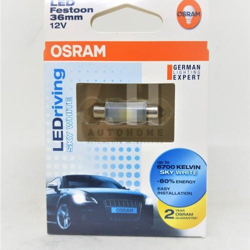 Foto Produk Osram LED Festoon Ujung Ganda 36mm Lampu Kabin Plafon Putih 6436SW dari Auto Home