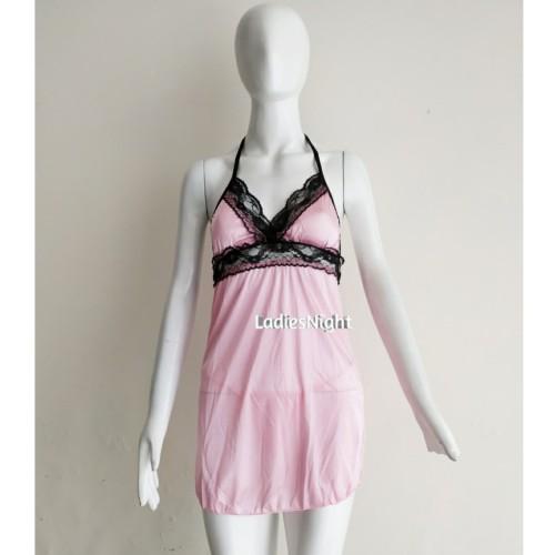 Foto Produk Pink Candy Yoshi,Black Lace -Pink Satin Nightdress+ Pink G-String dari Ladies Night