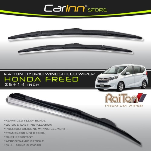 "Foto Produk Raiton Sepasang Wiper Hybrid Kaca Depan Mobil Honda Freed 26""&14"" dari Carinn Store"