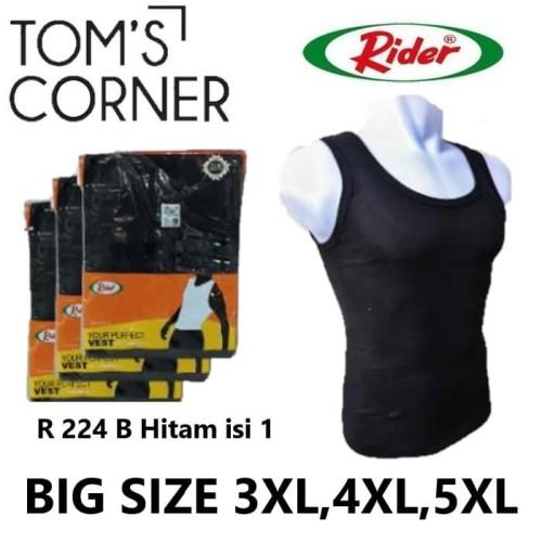 Foto Produk Singlet Rider Big Size   Jumbo 3XL, 4XL, 5XL   Kaos dalam pria   HITAM - Hitam, 3XL dari TomsCorner