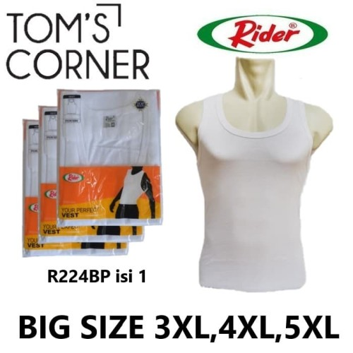 Foto Produk Singlet Rider Big Size | Jumbo 3XL, 4XL, 5XL | Kaos dalam pria | Putih - Putih, 3XL dari TomsCorner