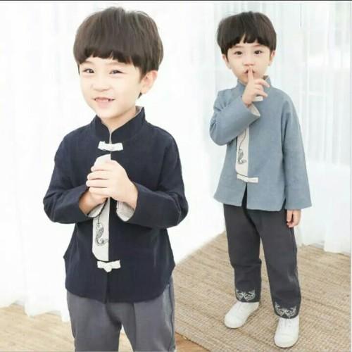 Foto Produk setelan chinese style baju anak cowok lengan panjang imlek china dari hayoung official