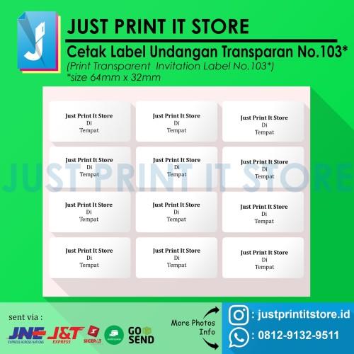 Foto Produk Print / Cetak Label Undangan Transparan No.103 dari Just Print It Store ID