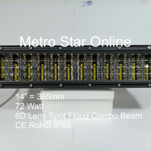 "Foto Produk LED Light Bar 4 Row 14"" 72w 6D Lens Spot Flood Combo Beam dari Metro Star Online"