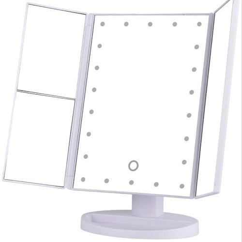 Foto Produk NOO NERD SIMPLE Luxury Vanity Mirror LED Makeup Mirror - Trifold WHITE dari twindshop