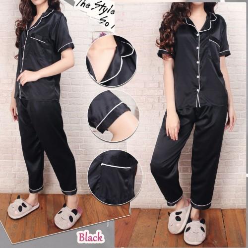 Foto Produk CP Baju Tidur Piyama Pajamas SATIN sleepwear baju pendek celana panjan - Hitam dari RisRus Apparel