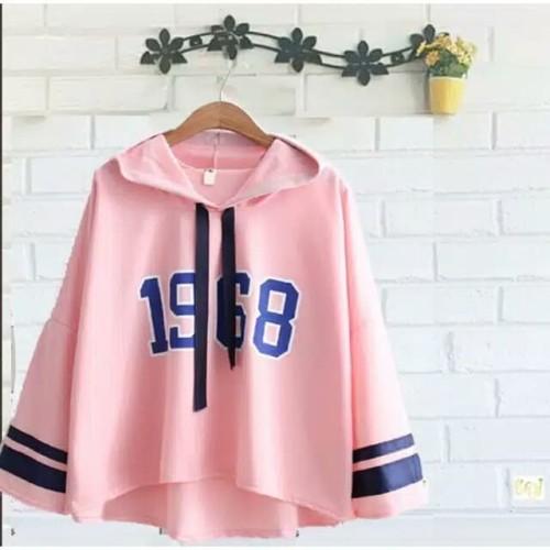 Foto Produk sweater kekinian - sweater - sweater voila 1968 hoodie wanita - Merah Muda dari FDH18shop