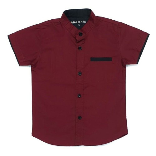 Foto Produk MAXKENZO hem kemeja baju katun anak bayi 1-10 tahun merah marun polos dari My Nanaa