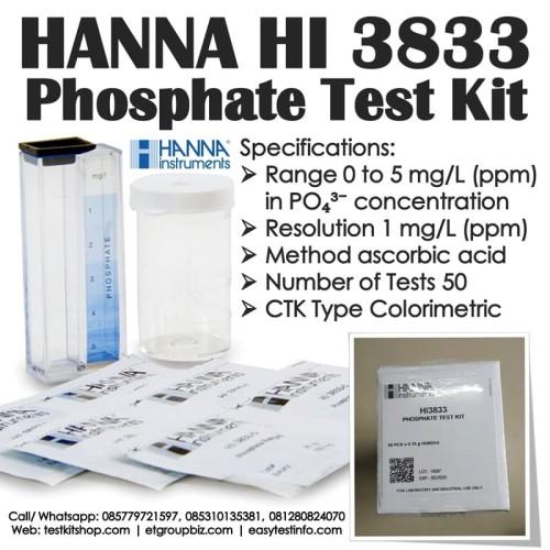 Foto Produk HANNA HI 3833 Testkit - Phosphate PO4 Test Kit - Teskit utk Tes Fosfat dari ERDUA Business