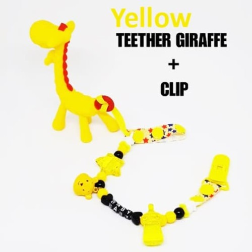 Foto Produk Teether Giraffe + Clip | Mainan Gigitan Bayi Jerapah + Klip dari bobo baby shop