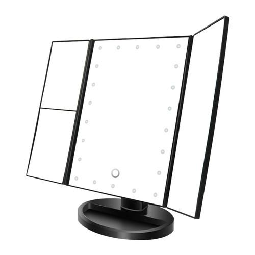 Foto Produk NOO NERD SIMPLE Luxury Vanity Mirror LED Makeup Mirror - Trifold BLACK dari twindshop