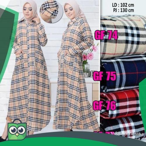 Foto Produk Gamis flanel/gamis kotak kotak/maxi kotak/gamis/maxi/long dress/long dari Fitri Shop.ID