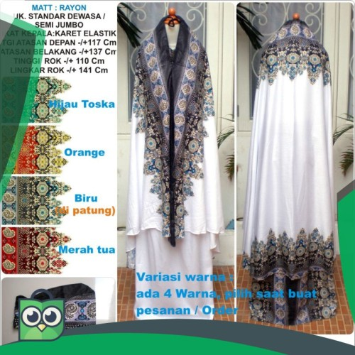 Foto Produk Mukena rayon dewasa motif batik warna dasar putih ukuran semi jumbo dari Fitri Shop.ID
