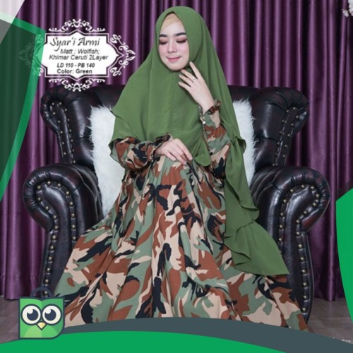 Foto Produk Gamis Syari TL MONALISA ARMY loreng abri armi muslimah dress kekinian dari Fitri Shop.ID