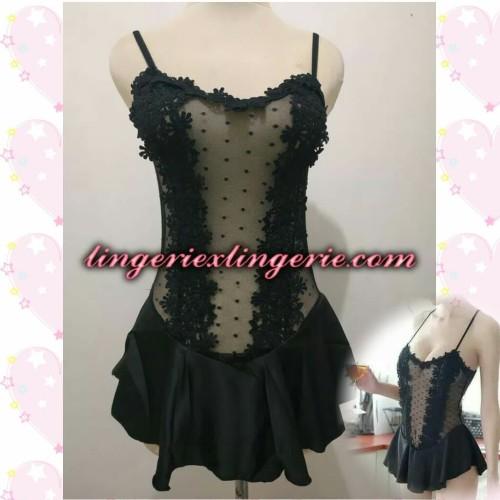 Foto Produk L-1221 - Lingerie Elegant Princess Floral Transparant Black Costume dari Lingerie X Lingerie