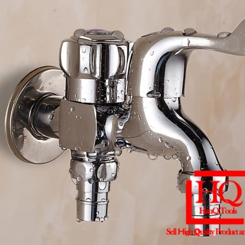 Foto Produk Keran Air Cabang Double Stop keran Kran Shower Mandi Bak Mesin Cuci WC dari HanQ Tools