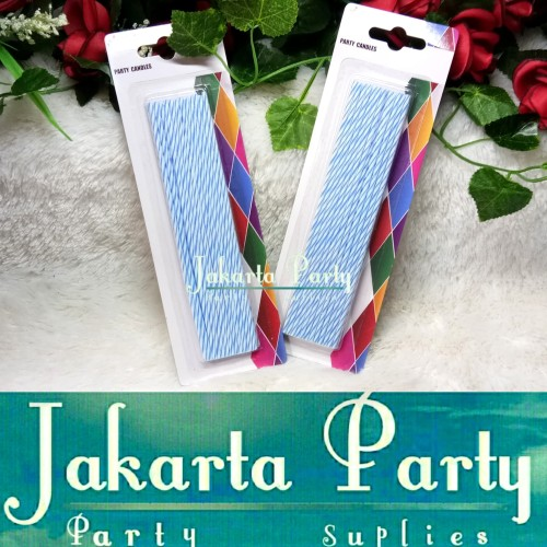 Foto Produk Lilin Ulang Tahun Panjang / Lilin Panjang Biru / Lilin Ultah dari Jakarta Party