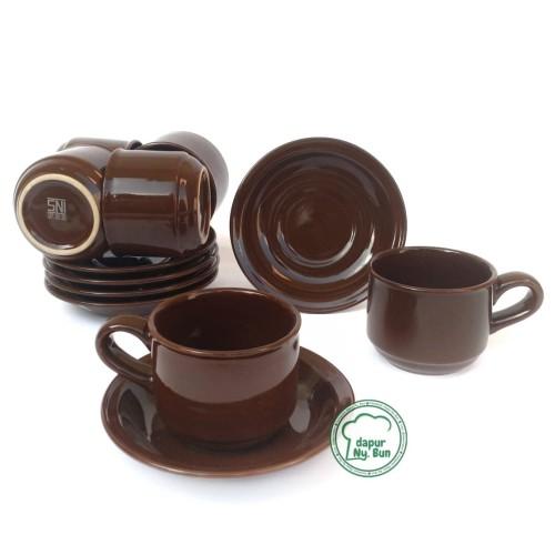 Foto Produk 6 Pasang Cangkir Set / Cangkir + Saucer Nikura / Cangkir Teh / Cangkir - Cokelat dari Dapur Ny.Bun