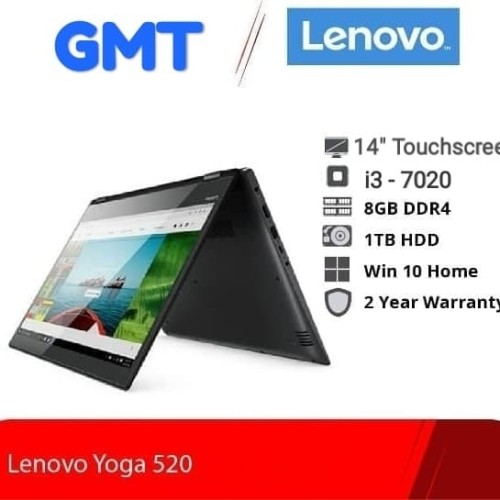 Foto Produk Lenovo Yoga 520 Prid W10 ( i3 - 7020 | 8GB | 1TB | Mx130 2GB | 14 TS ) - Hitam dari Gloria mandiri