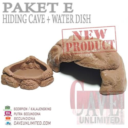 Foto Produk PAKET TYPE E HIDDING CAVE + WATER DISH MURAH MERIAH REPTILE INSECTA dari scorpion/ kalajengking