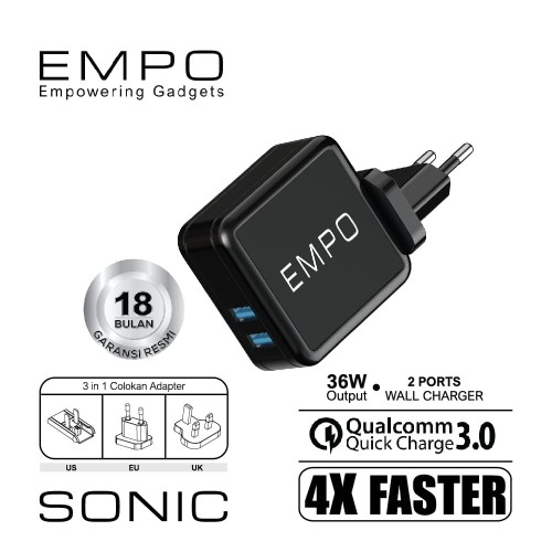 Foto Produk EMPO Sonic Wall Charger 2 Port Quick Charge 3.0 36W Output 3in1 Plug dari EMPO
