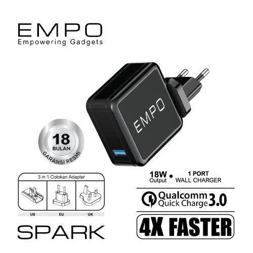 Foto Produk EMPO Spark Wall Charger 1 Port Quick Charge 3.0 18W Output 3in1 Plug dari EMPO