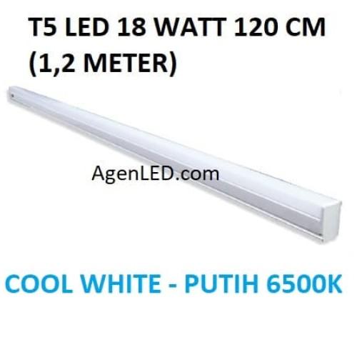 Foto Produk Lampu TL Neon T5 LED 18W 120cm Tube 120 cm 18 w watt PUTIH WHITE 1,2m dari AgenLED
