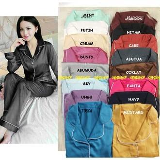 Foto Produk Limited Piyama Pajamas SATIN PP lengan panjang celana panjang dari cilistore77