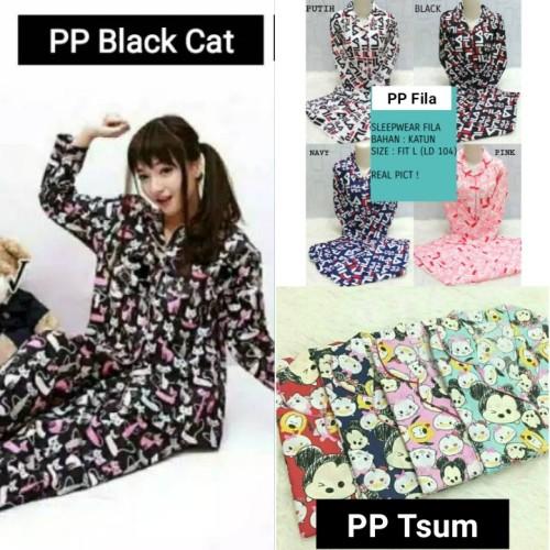 Foto Produk Export Quality Pajamas PP Black Cat / Fila Tsum Bhn Katun Jepang dari cilistore77