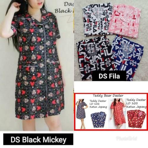 Foto Produk Exclusive Daster Black Cat / Dora Awan FILA Baju Tidur Katun Jepang dari cilistore77