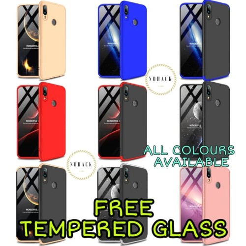 Foto Produk xiaomi redmi note 7 case gkk 360 full protect tempered glass note7 ume - BLACK RED dari Caseayangan ID