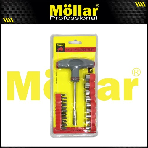 Foto Produk BISON G17150 OBENG SET 21 PCS KUNCI SOK SET MODEL GAGANG T dari Mollar Official
