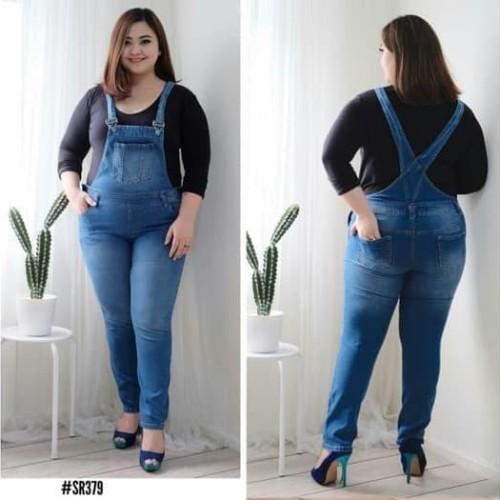 Foto Produk Termurah Real Picture Overall Jumpsuit Celana Kodok Jeans Big Size dari Bricqie Liu