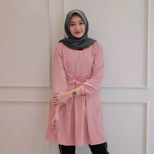 Foto Produk Paling Laku Baju Atasan Wanita Muslim Blouse Perempuan Bunga Bordir dari Bricqie Liu