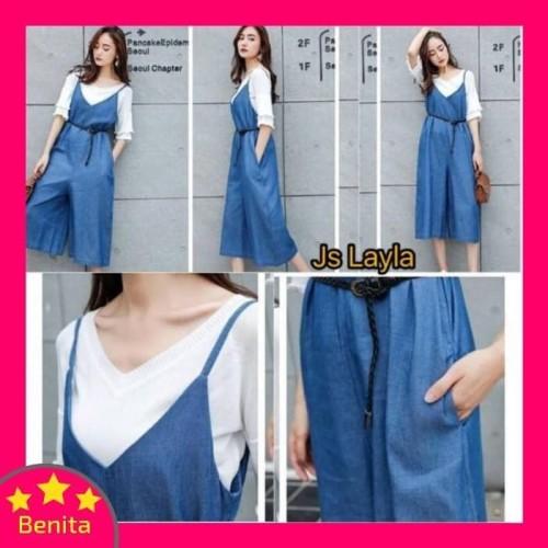 Foto Produk Terlaris Baju Jumpsuit Wanita 703 / Baju Overall Wanita 703 - Biru dari Bricqie Liu