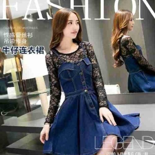 Foto Produk Paling Laku Pakaian Wanita Dress Warna Biru Kombi Hitam dari Bricqie Liu